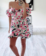 Pink Flower Ruffle Dress