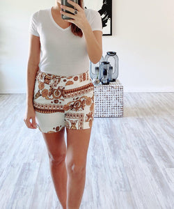 Yellow Print Shorts