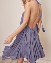 Dusty Blue Ruffle Halter Dress