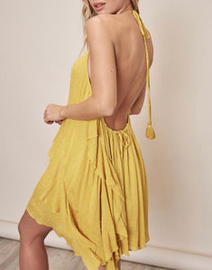 Golden Kiwi Ruffle Halter Dress