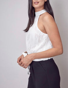 White Embroidered Mock Neck Tie Back Top