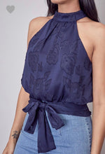 Navy Embroidered Mock Neck Tie Back Top