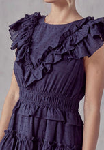 Navy Detail Ruffle Dress