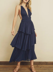 Navy Long Boho Strappy Tiered Dress