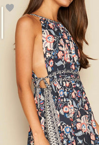 Navy Paisley Cut Out Dress