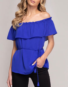 Royal Blue Off The Shoulder Top - Cocoa Couture Miami Boutique
