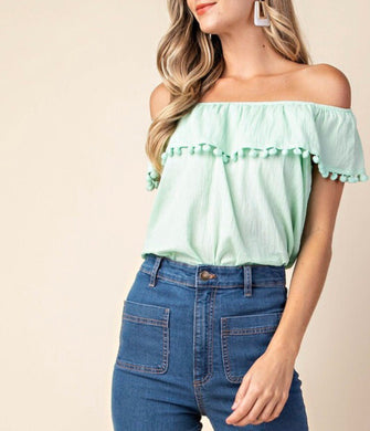 Mint Off Shoulder Top - Cocoa Couture Miami - Clothing Boutique