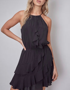 Black Halter Ruffle Dress - Cocoa Couture Miami - Clothing Boutique