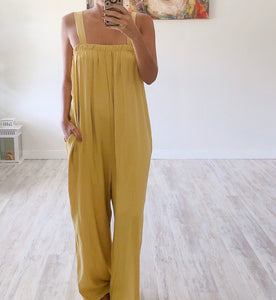 Mustard Billowy Jumpsuit - Cocoa Couture Miami Boutique
