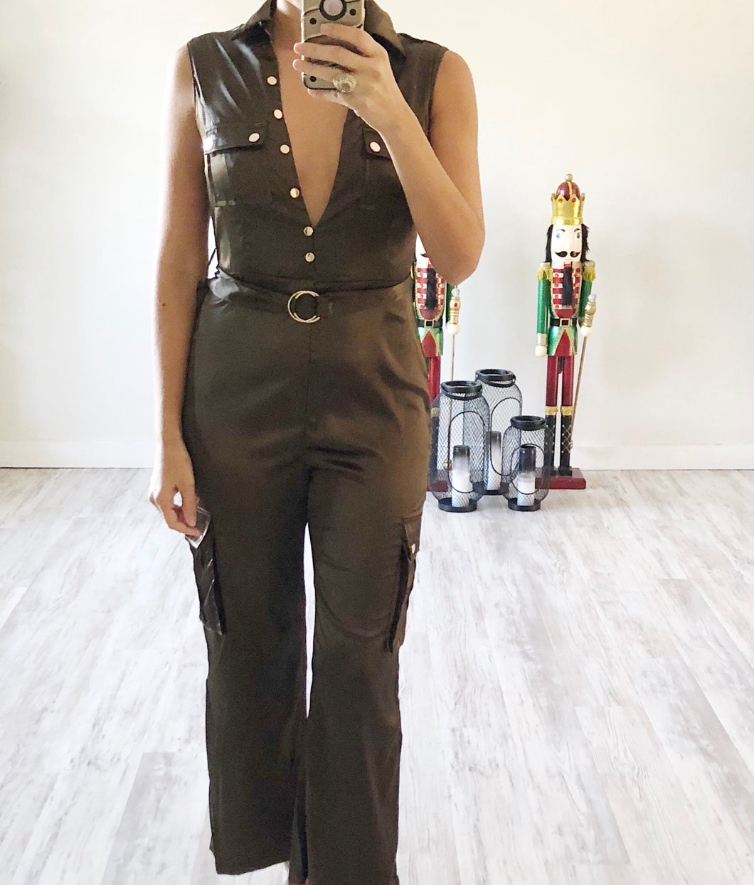 Olive Satin Jumpsuit - Cocoa Couture Miami Boutique
