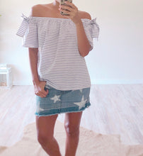 Blue Stripe Off The Shoulder Top - Cocoa Couture Miami - Clothing Boutique