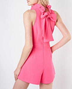 Coral Ruffle Neck Romper - Cocoa Couture Miami - Clothing Boutique