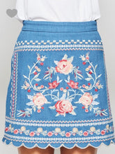 Denim Embroidered Skirt - Cocoa Couture Miami Boutique
