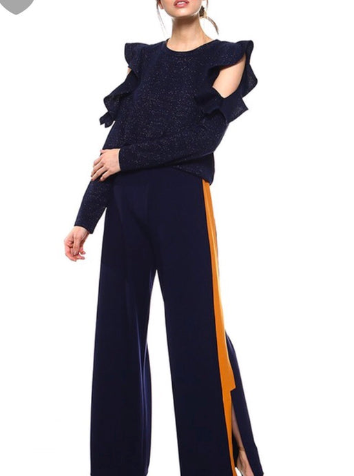 Navy Pants with Side Stripe