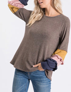 Brown Colored Sleeve Top