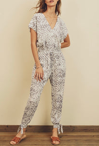 Grey Short Sleeve Surplice Tie Ankle Jumpsuit