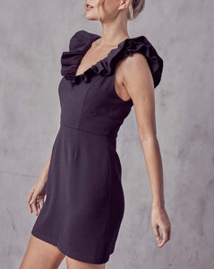 Black Ruffle Sleeve Dress