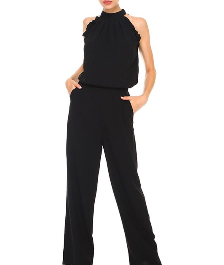 Black Frilly Jumpsuit - Cocoa Couture Miami Boutique
