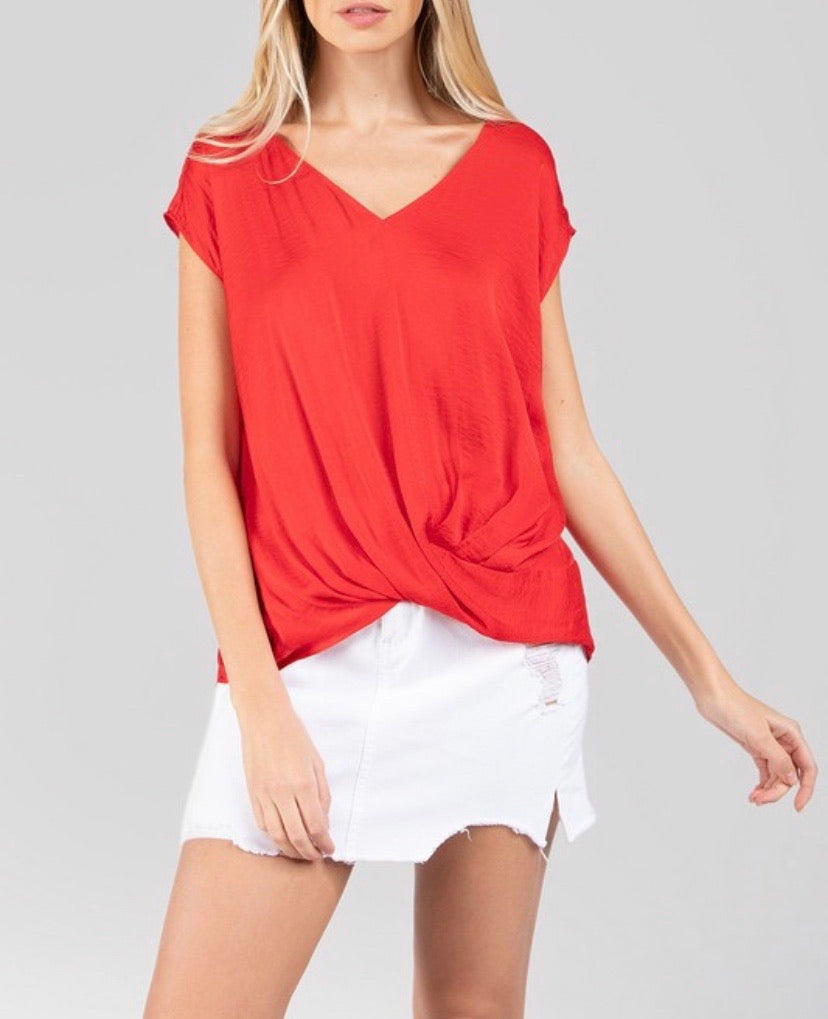 Red V- Neck Top