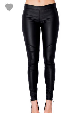 Black Pleather Moto Leggings - Cocoa Couture Miami - Clothing Boutique