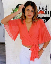 Coral Pleated Crop Top - Cocoa Couture Miami Boutique