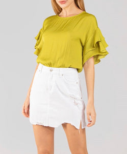 Chartreuse Back Zipper Blouse