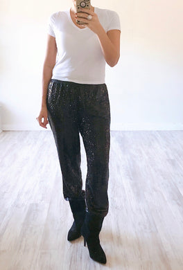Black Sequin Joggers - Cocoa Couture Miami - Clothing Boutique