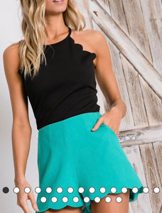 Mint Scalloped Shorts - Cocoa Couture Miami Boutique