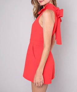 Red Ruffle Neck Romper - Cocoa Couture Miami Boutique