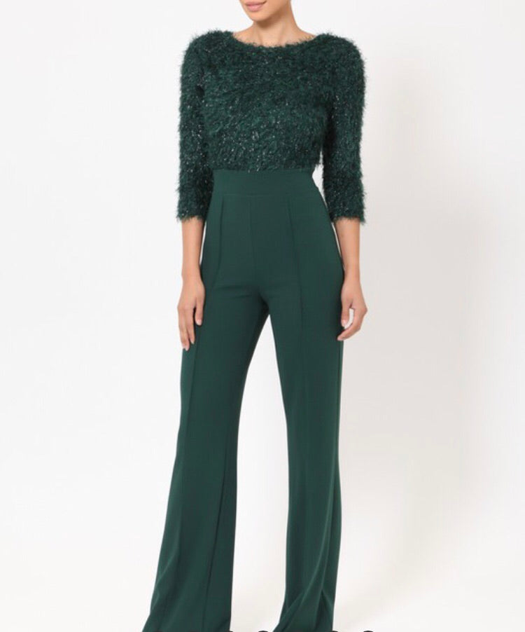 Green 3/4 Sleeve Jumpsuit - Cocoa Couture Miami Boutique