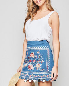 Denim Embroidered Skirt - Cocoa Couture Miami - Clothing Boutique