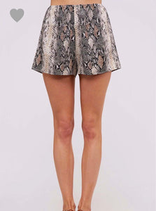 Camel & Black Snake Print Shorts - Cocoa Couture Miami - Clothing Boutique