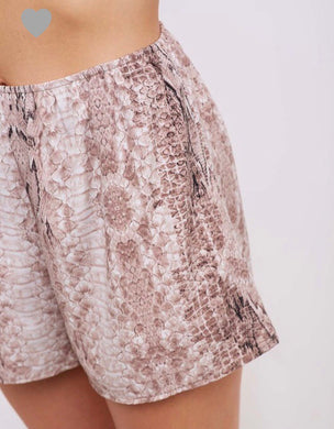 Tan Snake Print Shorts - Cocoa Couture Miami Boutique
