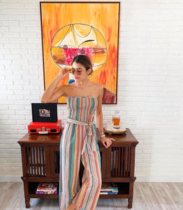 Beige Stripe Jumpsuit - Cocoa Couture Miami Boutique