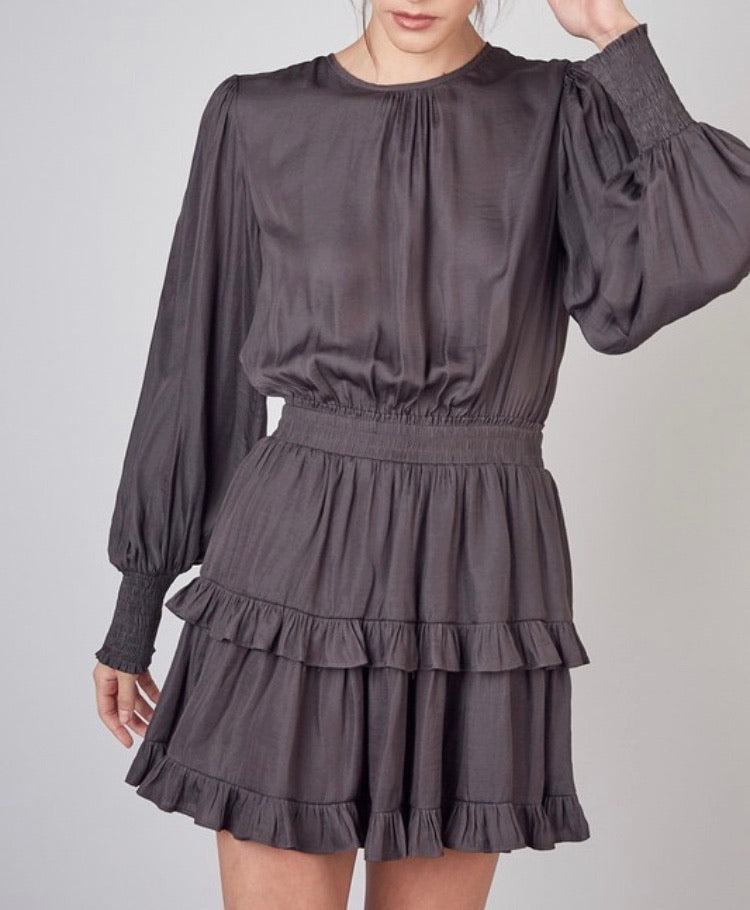 Charcoal Ruffle Layer Dress - Cocoa Couture Miami - Clothing Boutique