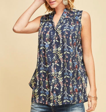 Navy Floral Open Back Top - Cocoa Couture Miami - Clothing Boutique