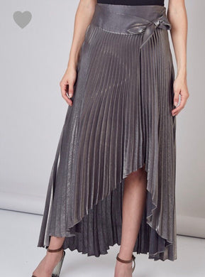 Metallic Pleated Skirt - Cocoa Couture Miami - Clothing Boutique