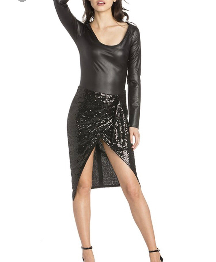 Black Sequin Skirt - Cocoa Couture Miami Boutique