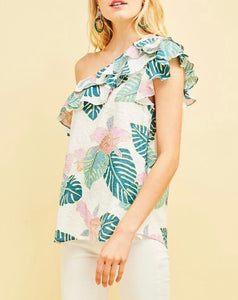 Tropical Print One Shoulder Top - Cocoa Couture Miami Boutique