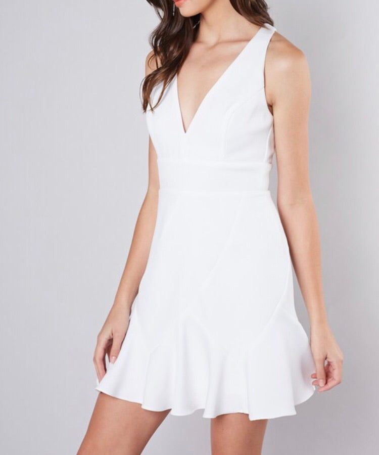 White Racer BackDress - Cocoa Couture Miami Boutique