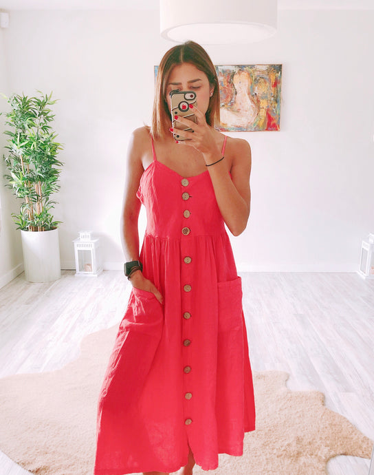 Coral Linen Dress - Cocoa Couture Miami Boutique