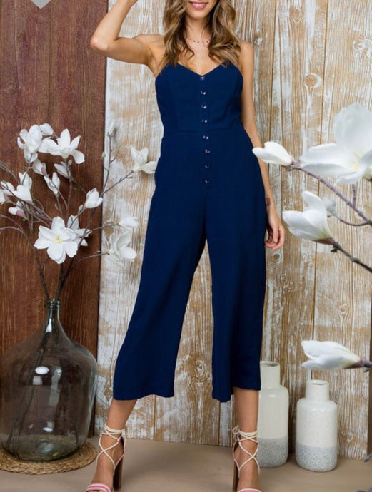 Navy Bow Jumpsuit - Cocoa Couture Miami Boutique