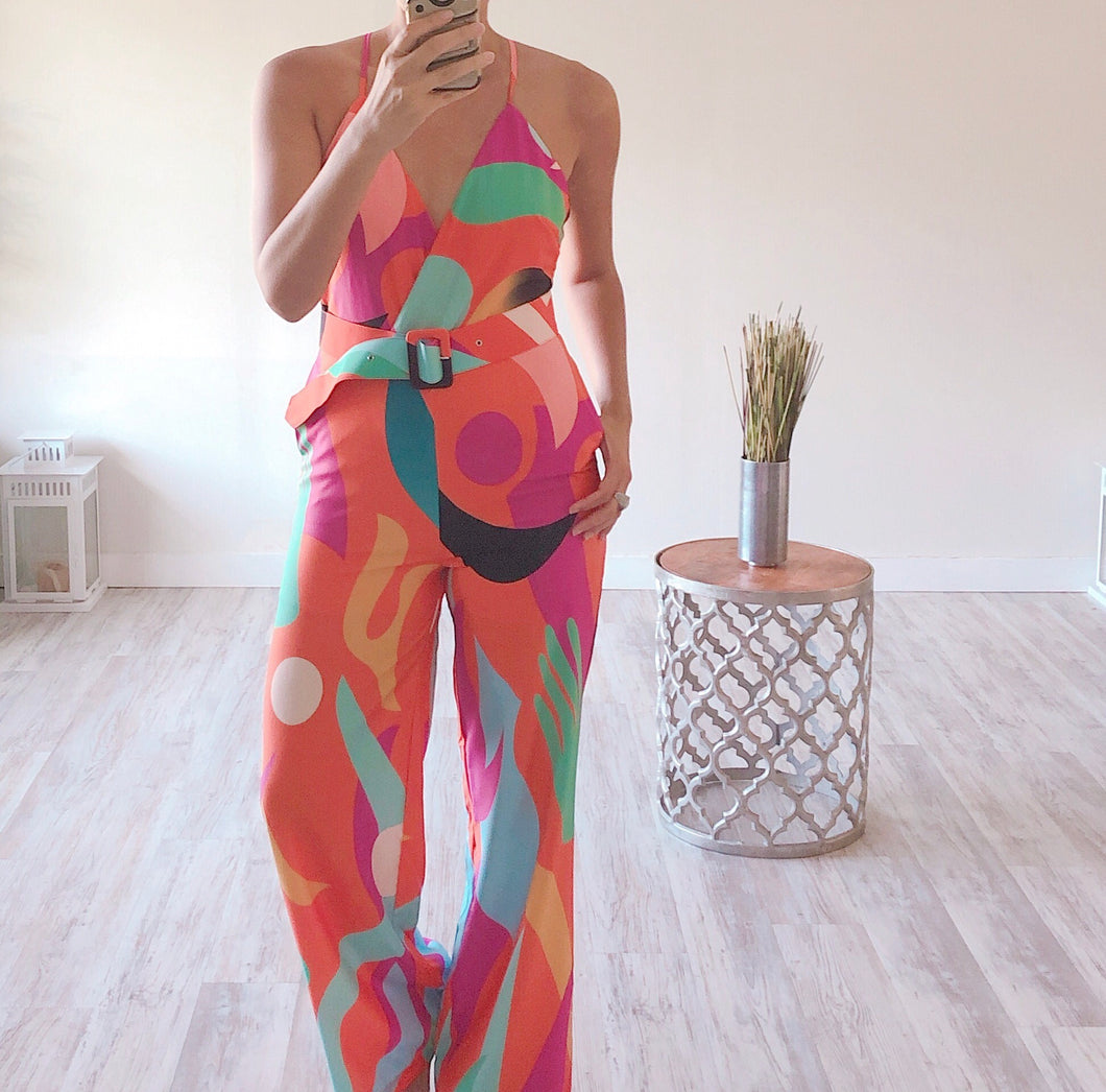 Orange Printed Jumpsuit - Cocoa Couture Miami Boutique