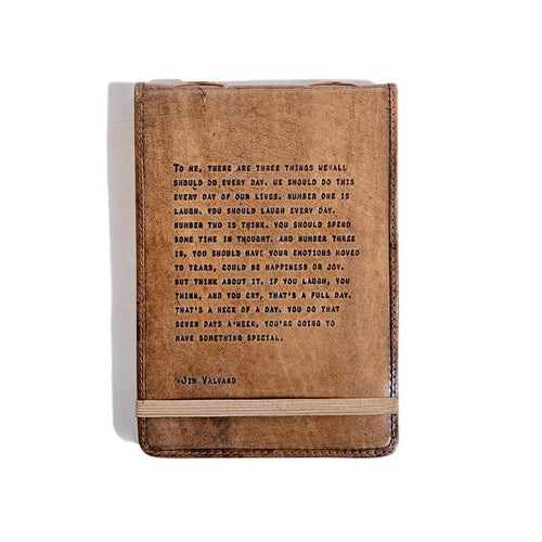 Brown Leather Journal - Jim Valvano Quote