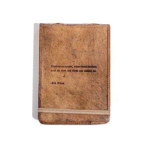 Brown Leather Journal - Bob Dylan Quote