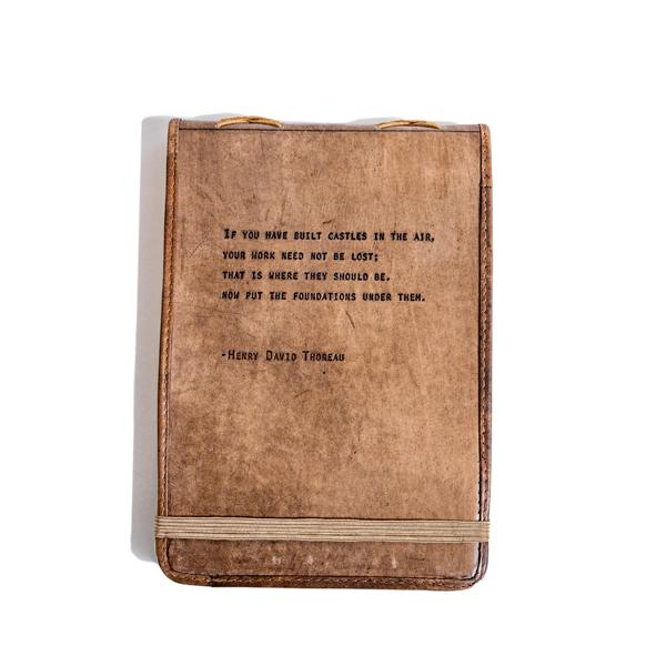 Brown Leather Journal - Henry David Thoreau Quote