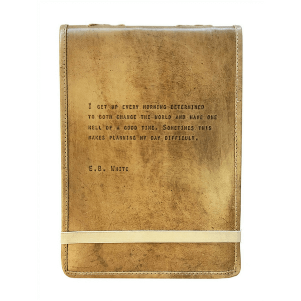 Brown Leather Journal - E.B. White Quote