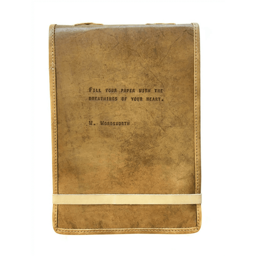 Brown Leather Journal - W. Wordsworth Quote