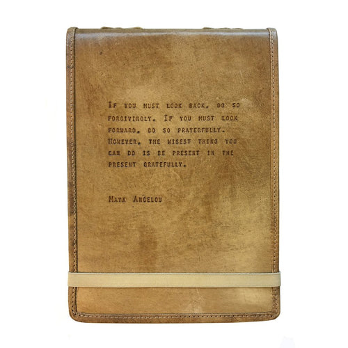 Brown Leather Journal - Maya Angelou Quote