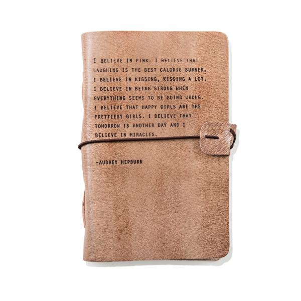 Blush Leather Journal - Audrey Hepburn Quote